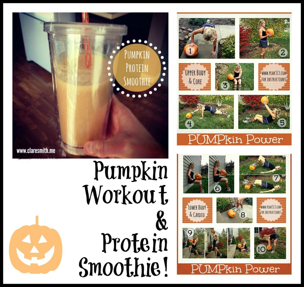 Pumpkin Workout & Protein Smoothie: www.claresmith.me