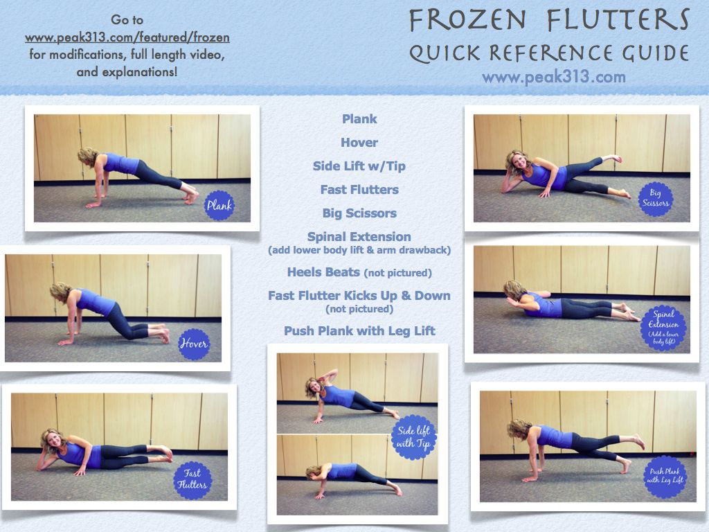 Frozen Flutters (Core Focused Pilates Routine) Quick Reference Guide! : peak313.com
