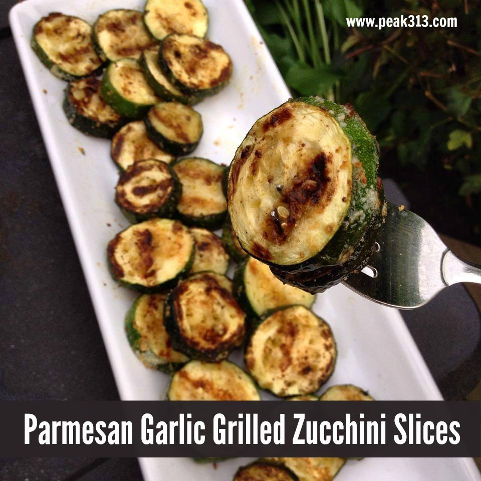 Parmesan Garlic Grilled Zucchini Slices : peak313.com