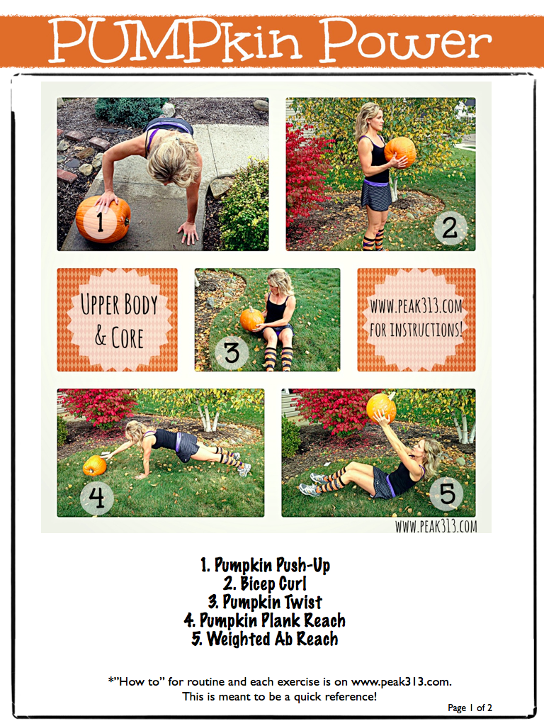 PUMPkin Power (Upper Body & Core Workout) FREE Printable (Pg1 of 2) | peak313.com