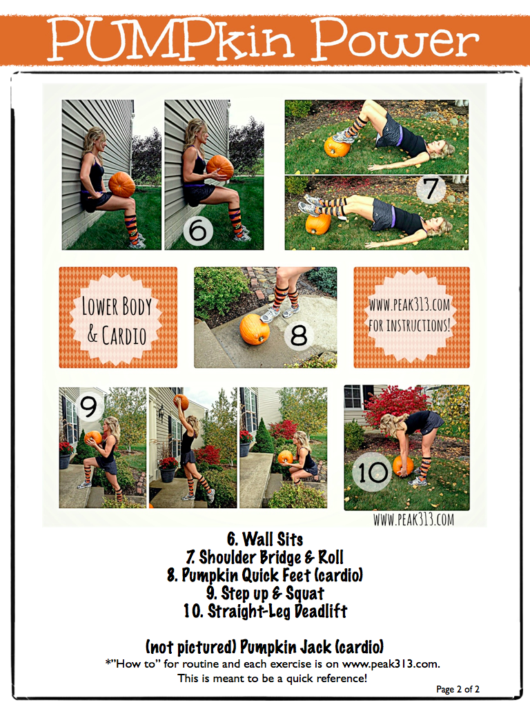 PUMPkin Power Workout:Lower Body & cardio) FREE Printable (Pg2 of 2) | peak313.com